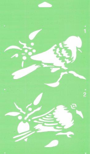 30cm x 17.5cm Pochoir (2 étapes) Réutilisable en PCV Plastique Transparent Souple Trace Gabarit - Traçage Illustration Conception de Gâteau Murs Toile Tissu Meubles Décoration Aérographe Airbrush - Tourterelle Dove Oiseau