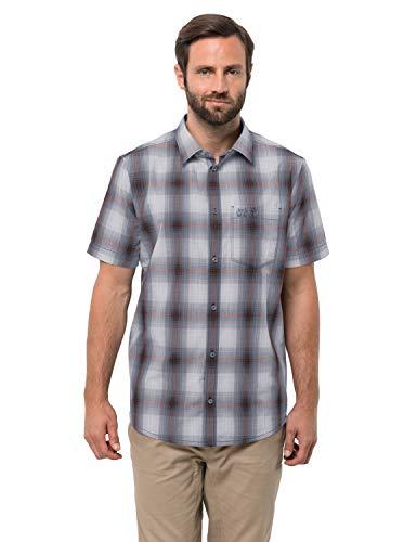 Jack Wolfskin Hot Chili Shirt M, Herren Hemd für Reisen und Freizeit, bequemes Karohemd für Männer, kariertes Hemd aus Baumwolle für heiße Tage -