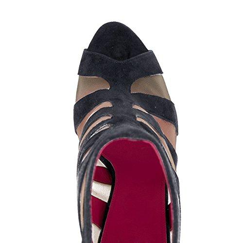 Damen Peep Toe Fellsamt Sandalen High-Heels Stiletto Reißverschluss Breathable Mesh Schuhe Dunkelgrau