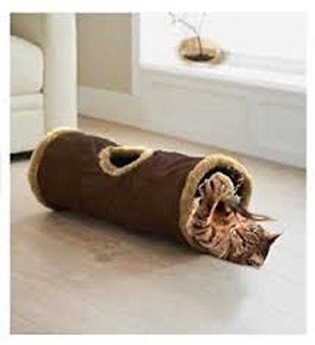 Cat tunnel instant pop up feather toy hide and seek play soft folds away colour may vary 2