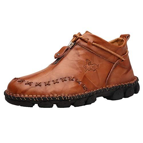 R-Cors Herren Lederschuhe, Frühling/Herbst New National Style Handgefertigte Sohle Weiche Sohle Kurze Stiefel Herrenschuhe Leder Retro Papa Stiefel