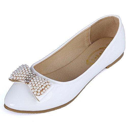 AalarDom Damen Ohne Absatz Pu Leder Weiches Material Ziehen Auf Rein Flache Schuhe Weiß