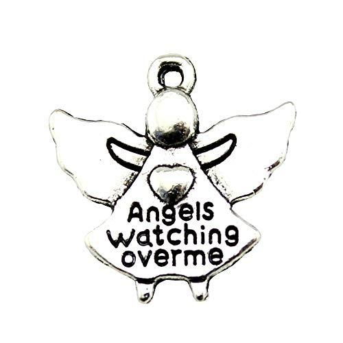 NEWME 30pcs 20x19mm Engel wacht über mich Charms Anhänger für DIY Schmuck machen Großhandel Handwerk handgemachte Armband Halskette Schlüsselanhänger Tasche Zubehör