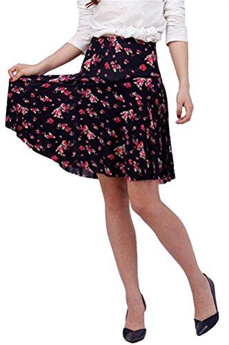 Ghope Femme Fille R¨¦tro Jupe Imprim¨¦e Midi Jupe A-line Pli Patineuse Style Vintage Galaxy Floral jupe F