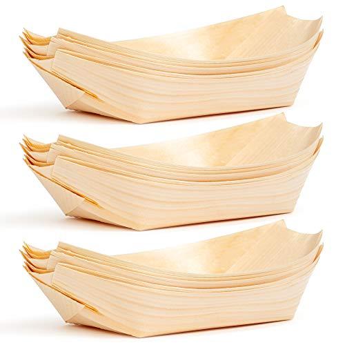 100 Platos Bambú Forma Botes Desechables - Ecológicos