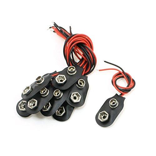sourcingmap 10 Pcs 15cm Double Fils 9V Piles Clip Connecteurs Support Noir Rouge