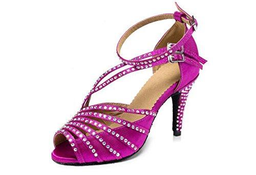 JSHOE Cristaux Féminins Sparking Satin Latin Salsa Chaussures De Danse / Tango / Chacha / Samba / Moderne / Chaussures De Jazz Sandales Talons Hauts