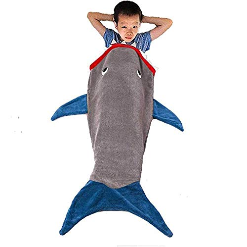 Askdasu Cartoon Kinder Schlafsack Hai, Samt, für Jungen und Mädchen, 150-175 cm