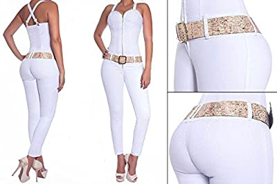 White Jumpsuit Overall Ladies Girls Women's Quality Stretchy Wonder Push Up Backside-Lifting Butt Lift Jeans