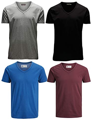 JACK & JONES Herren T-Shirt JJEBASAL Tee V-Neck GER KA - Regular Fit 4er Pack in vielen Farbvarianten, Größe:XXL, Farbe:1x Black 1x Light Grey 1x Classic Blue 1x Zinfandel