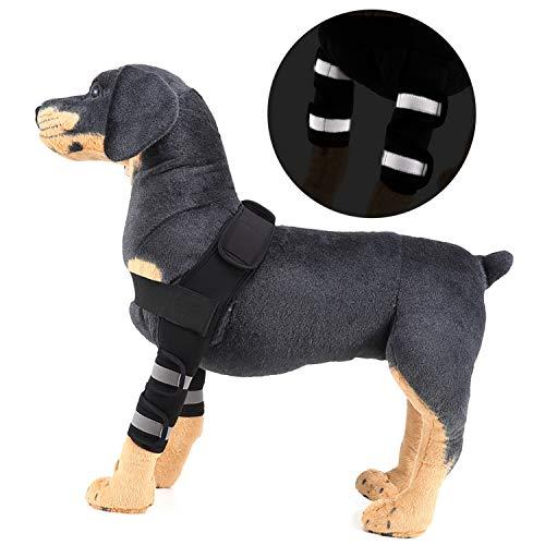 Zunea Ellenbogenschoner für Hunde und Hunde, zur Erholung von Wundheilung, für das Vorderbein, verformte ACL-Unterstützung, Schutz vor Verletzungen und Verstauchungen, L, Reflective-Black