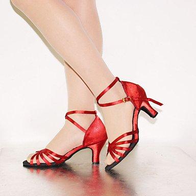 Silence @ pour femme Chaussures de danse latine en similicuir Talon Vert nude