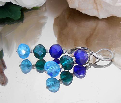 Ohrhänger Ohrringe aus brillant funkelnden Glasperlen Rondelle blau türkis smaragd + Edelstahl /A254o
