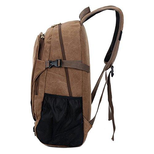 Canvas Tasche Männer Und Frauen Rucksack Tasche Freizeit Tasche 15 Zoll Computer Bag Sporttasche Einfache, Khaki Braun
