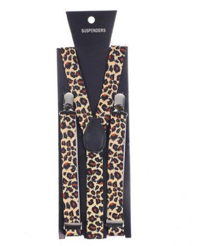 Preisvergleich Produktbild Eozy 1 Stück Hochwertige Hosenträger mit starken Clips für Unisex Erwachsene verstellbar ungezwungen Punk 80's 80s-70s Disko Tanze kostume Party (Braun(Leoparden Print))