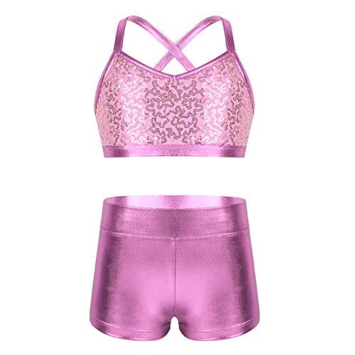 Agoky Mädchen Sport Bustier Top+Shorts Glänzend Kinder Tanz Auftritt Gymnastik Kostüme Zweiteiler Kleidung Set Outfits Rosa 140-152/10-12Jahre