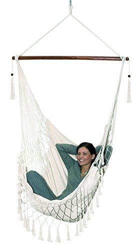 Hängematte Sitz Hängematten 110 x 116 cm mit stabilem Holzstab und stabilen Ösen zum Befestigen