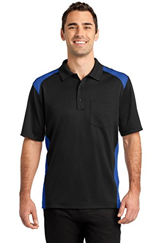 CornerStone® Select Snag-Proof Two Way Colorblock Pocket Polo. CS416 Black/