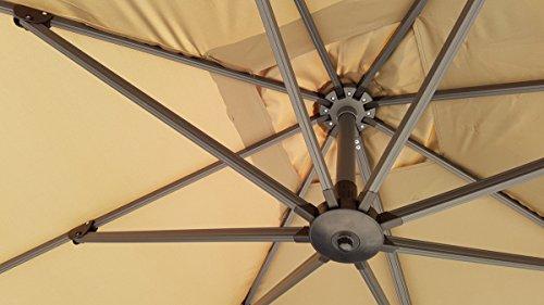 Zangenberg Ampelschirm Sonnenschirm Monaco 300×300 cm taupe braun/grau - 5