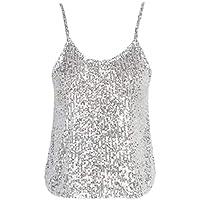JIER Liquidación Top sin Mangas de Lentejuelas para Mujer Sparkle Shimmer Camisole Vest Tank Tops Clubwear