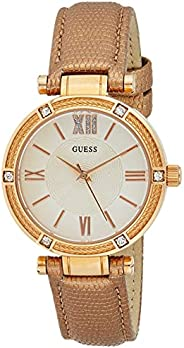 GUESS Womens Quartz Dress Watch, Analog and Leather- W0838L6