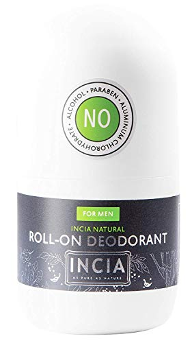 INCIA Natural Roll-On Deodorant For Men - 50ml | antibacterial and antiperspirant Roll On Deodorant Containing Natural Mineral Salt | Deodorant Womens, Vegan Deodorant