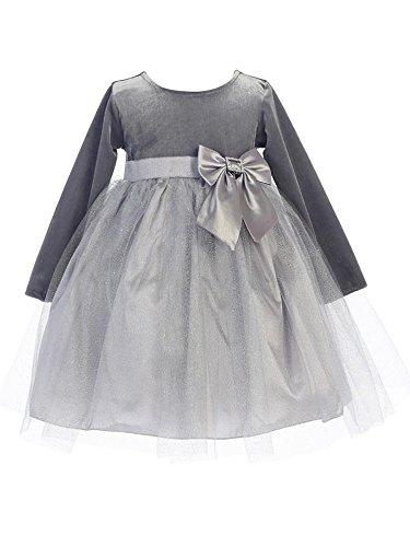BIMARO Baby Samtkleid Emmi grau silber festlich Tll Glitzersteine Schleife Kleid Samt Taufkleid Winter Taufe Weihnachten, silbergrau, grau, silber, 86/92 (Silber-grau Kleid)