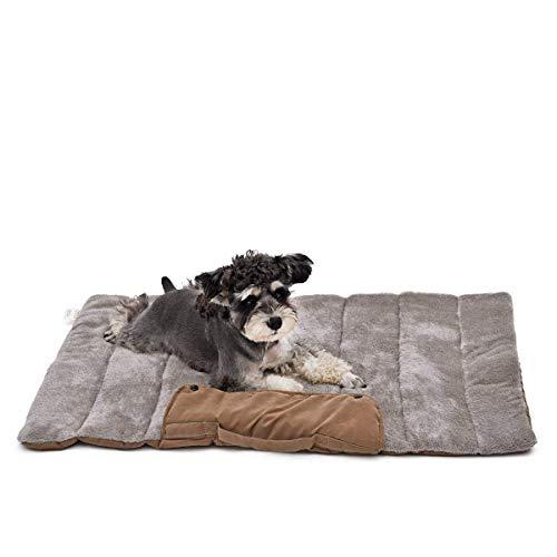 PAWZ Cama de Perro portátil Suave XL Lavable Cama Grande para Mascotas para Gatos y Perros para Actividades en Interiores y Exteriores 100 x 65 cm, Color marrón/Azul
