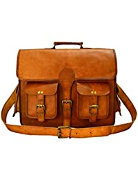 ADIMANI Handmade Vintage Style Leather Travel Messenger Bag For Men And Women, Notebook Macbook Air Mobile And...