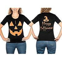 HT Women's Halloween Costume. Funny Scary Spooky Jack O' Lantern Pumpkin Halloween Costume Shirt Witch Hat Happy Halloween Tshirt. (Medium, Black)
