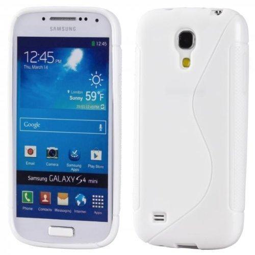 ECENCE Samsung Galaxy S4 mini i9190 Silikon TPU case schutz hülle handy tasche cover schale retro rot weiss gepunktet 12040404 Weiss S-Line