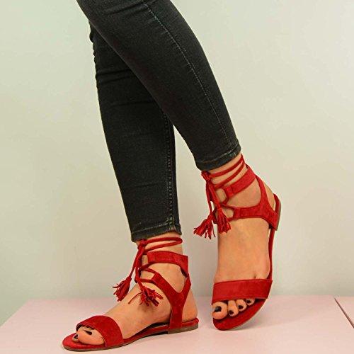 Cucu Fashion , Bride de cheville femme Rouge - rouge