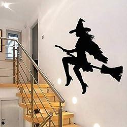 WSYYW Halloween Balai Sorcière Sticker Mural Détachable Vinyle Sticker Mural Diy Fenêtre En Verre Porte Decal Décor À La Maison Accessoires Wall Sticker Home Jardinage Gris 42x32cm