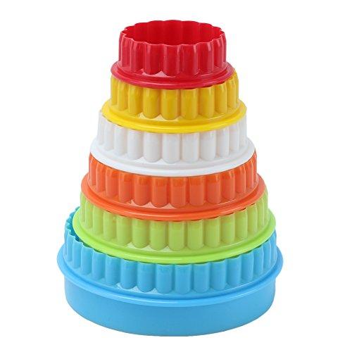 6x Plástico Moldes Cortador Redondo Dentada para Galletas Pastel Tartar Fondant con Doble Borde