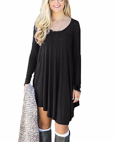 ZANZEA Femme Sexy Irrégulier Coton Tunique Robe Manches Longues Mini Robes Longue Chemise Dress Noir