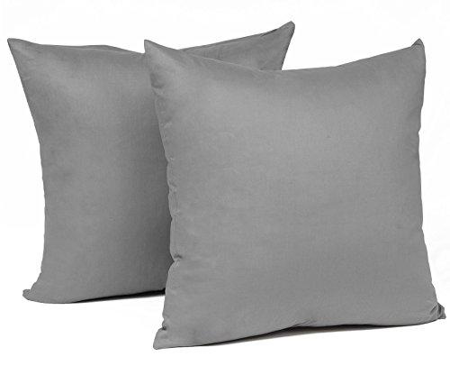 EUGAD® Doppelpack Kissenbezug Kissenhülle mit Reissverschluss 100% Baumwolle , 2x Sofakissen Dekokissen Bezug , 2er Set Kopfkissen Zierkissen Hülle Bezüge , 35x35 cm , Dunkel Grau , KB5150dgQ2