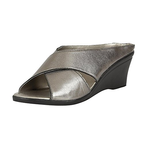 Lotus Womens Trino 20059 PWT Leather Crossover Mule Wedge Sandal 5