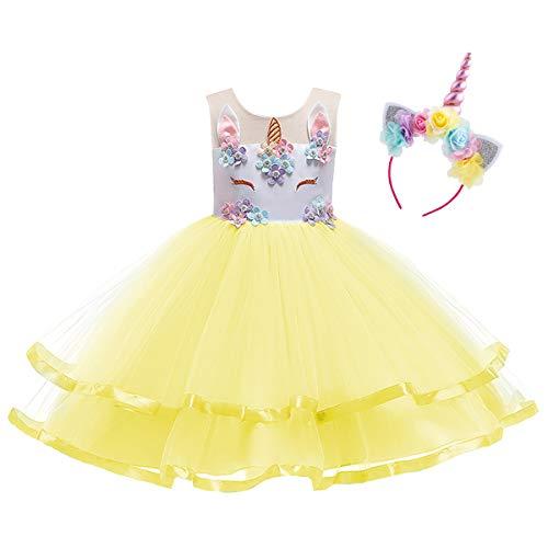OBEEII Kinder Festliche Kleider Mädchen Einhorn Kostüm Karneval Weihnachten Allerheilige Geburtstag Geschenk Baby Kinder Prinzessin Kleid 4-5 Jahre