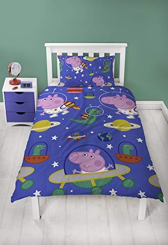 Peppa Pig George Bettbezug mit passendem Kissen Fall-Zwei-seitige Space Planeten Design, Mikrofaser, Blau, Single