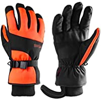 HuanXin-P623 Guantes de esquí Guantes de esquí a Prueba de fríos cálidos y cálidos de Pantalla táctil Largos Naranja