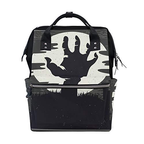 ALINLO Halloween Zombie Hand Windeltasche Wickeltasche Wickelrucksack mit großer Kapazität Multifunktions-Kinderwagengurte Mumientasche für Reisen Baby ()