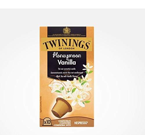 TWININGS Compatible Capsule - HONEYMOON VANILLA - Pacco da 10 Capsule x 6 - [confezione da 6] * Tè nero al gusto di vaniglia. Le nuovissime capsule di tè Nespresso compatibili per il tè Twinings premium, istantaneamente. Estrazione del tè in pochi se...