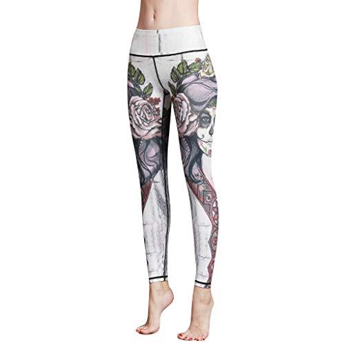 RISTHY Leggins Fitness Pantalón Deportivo de Mujer Malla Leggins Cintura Alta Estampado Retro para Running, Yoga y Ejercicio Gym Pantalon Elásticos Running Pilates