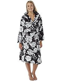 Ladies Fleece Hooded Dressing Gown. Black White Floral. Sizes S (10- 9860de938