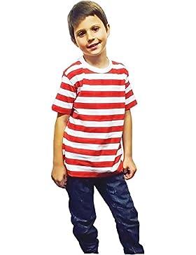 Islander Fashions Unisex Camiseta de algodn a Rayas Rojas y Blancas Camiseta de Manga Corta de Lujo para Damas...