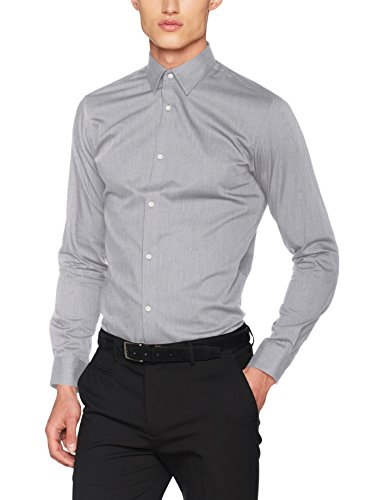 JACK & JONES PREMIUM Herren Businesshemd JPRNON Iron Shirt L/S NOOS, Grau (Grey Melange Fit:Slim Fit), Medium