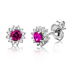 Idea Regalo - Miore - Orecchini da donna in oro bianco 9 carati (375), diamanti taglio brillante 0,10 kt