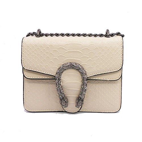 Windwelle Damen PU Leder Quadratische Kette Handtasche Schultertasche Messenger Bag Umhängetasche ( Beige- S )