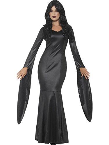 Vampir Unsterblichen Kostüm - Smiffys Damen Kostüm unsterbliche Vampirin Hexe Kleid schwarz Halloween Gr.S