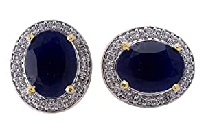 Hyderabad Jewels Stone Studded Gold Plated Stud Earrings for Women.